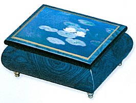 Monet's Lilies on Blue musical box