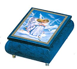 Blue Music Box Features Kissing  Angels