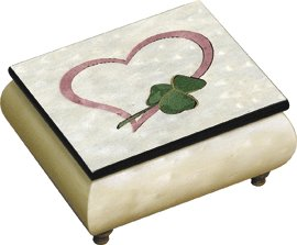 Delicate Heart and Shamrock grace the lid of Italina shite finished music Box