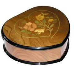 Italian floral inlay on heart shaped box