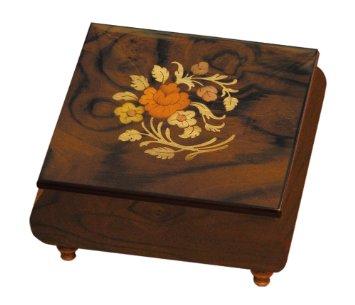 Floral pattern on Italian Square Elm Box