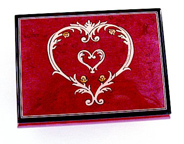 Baroque Heart within a Heart Inlay on Wine Colored Musical Box