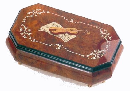 Long and narrow elm music box with trimmed corners and inlay of Violin