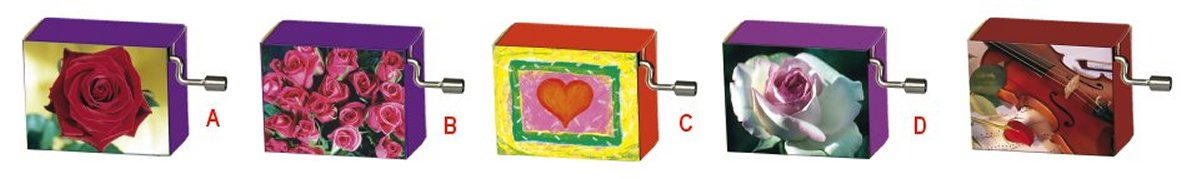 Hand Crank Music Box  Hearts and Roses Series