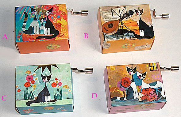 Hand Crank Music Box  Series Wachtmeister Cats