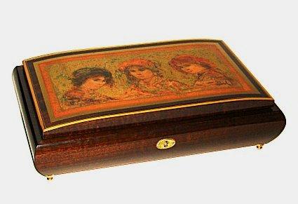 Decoupage of Three Ladies by Edna Hibel on lid of Music Box