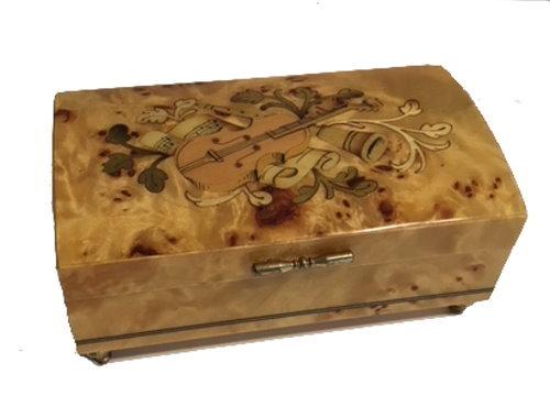 Vintage violin inlay on pioppo music box