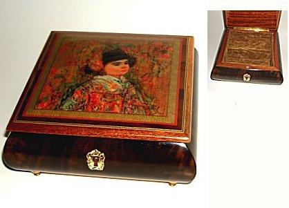 Edna Hibel Decoupage of an Asian Girl on lid of Elm Music Box.