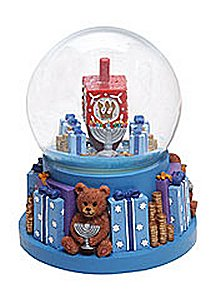 Water Globe with Dreidel and musical base with presents and teddy bear