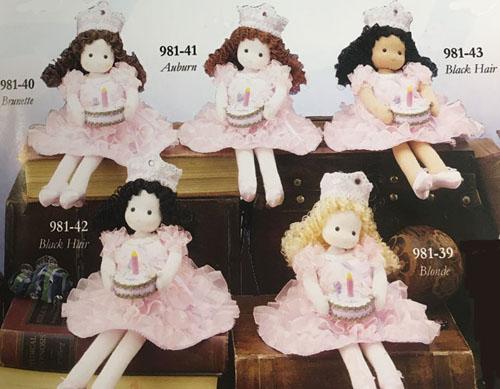 Happy Birthday Princesses holding little cakes