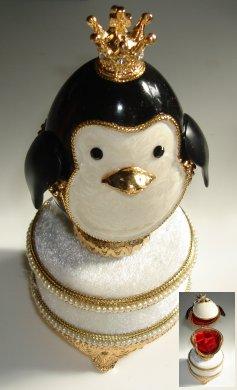 Music box Little Penquin Prince made of genuine egg shell