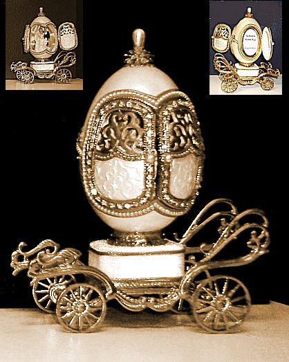 White Wedding carriage Musical Goose Egg