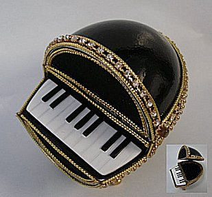 Jeweled Piano Music Box made of Goose egg