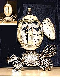 Wedding carriage musical egg with bride and groom