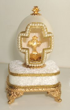 jeweled crucifix design music box made of genuine egg shell