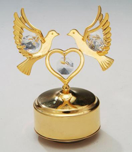 24K Gold Plated or Silver Plated Heart and Two Doves with Austrian Crystals,  Music Box Figurine