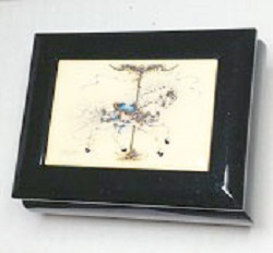 Tiled Collection Black Mini Keepsake Box with Carousel Horse Tile