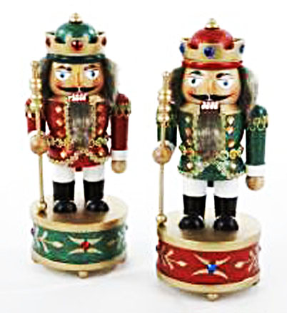 Musical Nutcrackers in red and green.