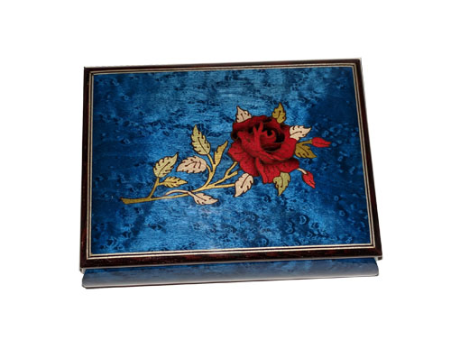 Blue Music Box with Red Rose