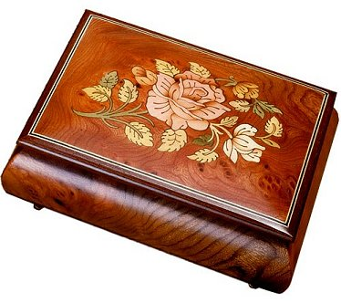 Rose - Burled Elm Rose Inlay music boxes