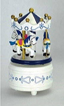 small blue and white carousel