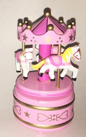 Pink Wooden Carousel for Nursery