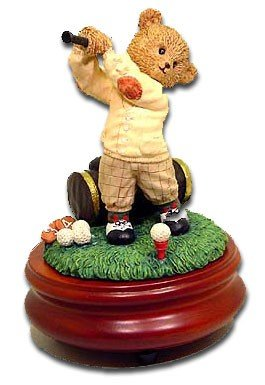 Bear golfer figurine music box