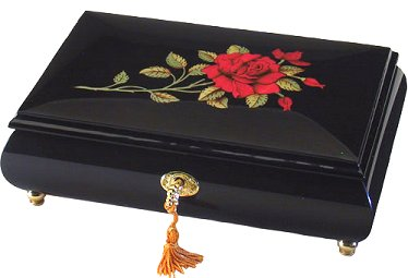 Wood Inlay by Ercolano Red Rose on Black Lacquer 8 inch (1.18)