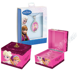 Frozen Princesses Musical Keepsake Pink Box with Anna Pendant
