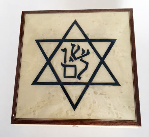 Shalom message in Star of David Inlay Music box Blue on White