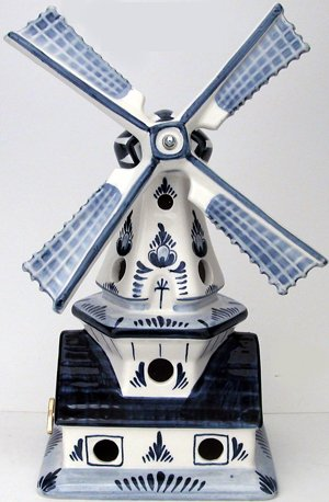 Windmill on House Delft Blue 10 inches