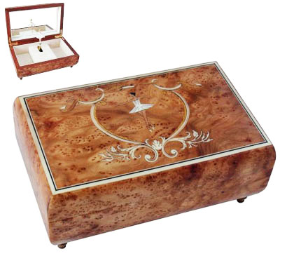 Upscale Italian Inlay of Ballet Dancer on Elm Box with Twirling Ballerina