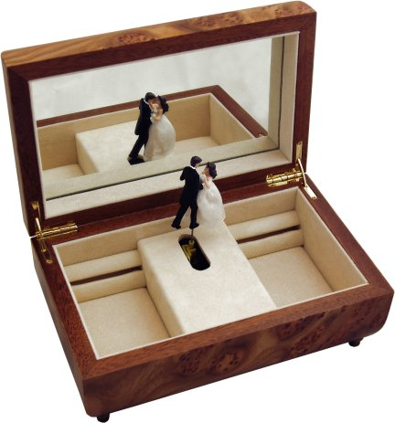 Open view of Dancing couple in Musical Box