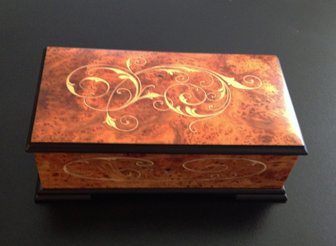 Large 72 note Elm Music Box with Beautiful Scroll Work