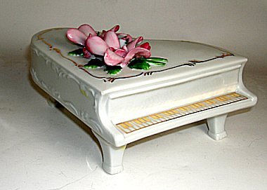 Musical Porcelain Piano with Flowers