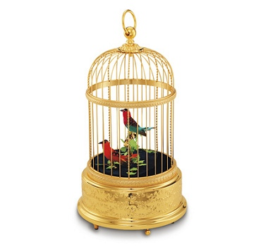 Reuge Collection Voliere de la Cour Singing Birds in  Gilt brass Cage