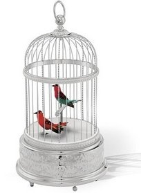Reuge Collection Voliere de la Cour Singing Birds in Rhodium-plated Cage