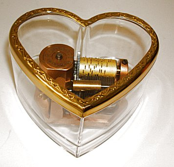 Vintage Reuge Lucite Heart Music Box