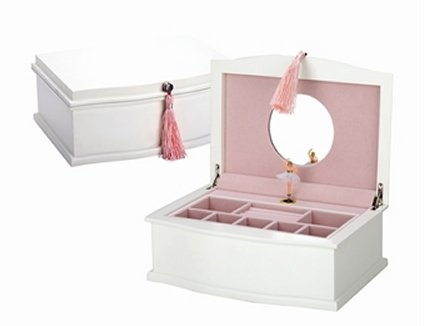 Reed and Barton White Musical Box with dancing ballerina.