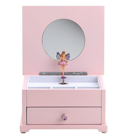 Pink wood Jewelry box with Rotating Fairy