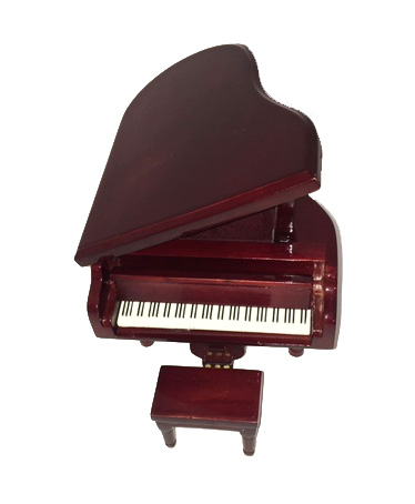 Small miniature baby grand piano in  Brown