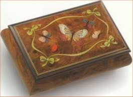 Elm musical box featuring Butterflies and Ladybugs
