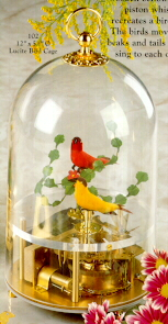 Singing Birds in Cage-Lucite - Two