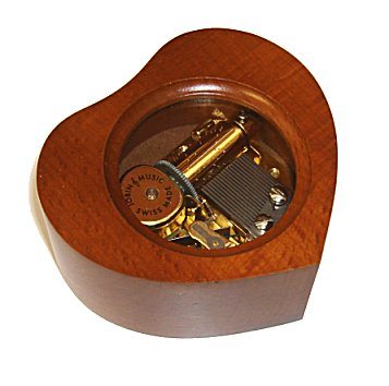 Heart Shaped Musical Box in Walnut Box with Glass Top (1.18)