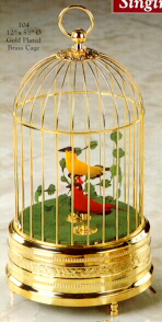Singing Birds in Cage-Gold Plated Brass - Two