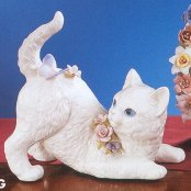 porcelain cat with butterfly musical figurine