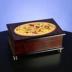 Classic Floral Wooden Musical Jewelry Box