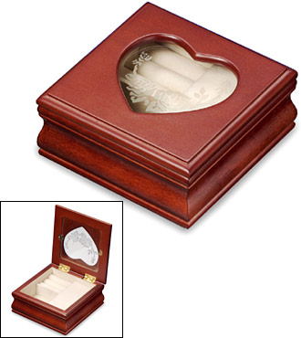 Small Musical Jewelry Box with Heart Shaped Photo Frame Insert