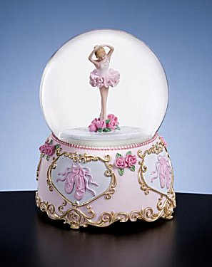 Music Box Ballerina in Water Globe Adorned with Hearts and Flowers