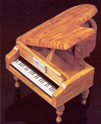olivewood piano music box